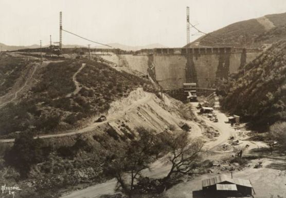 St. Francis Dam before its collapse on March 12, 1928.