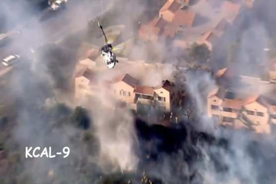 Railroad Fire, Newhall, July 30, 2018. Photo: KCAL-9.