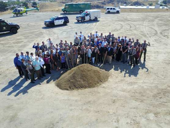 Officials break out the golden shovels at the groundbreaking ceremony for the new Santa Clarita Valley Sheriff's Station on July 25, 2018.