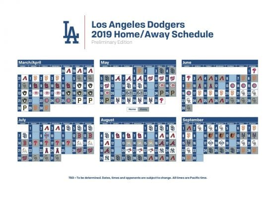 photograph relating to Dodger Schedule Printable called Dodgers 2019 Initial Routine Launched; Incorporates