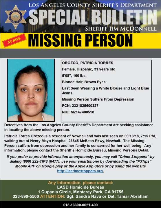Patricia Torres Orozco of Newhall, reported missing Sept. 13.