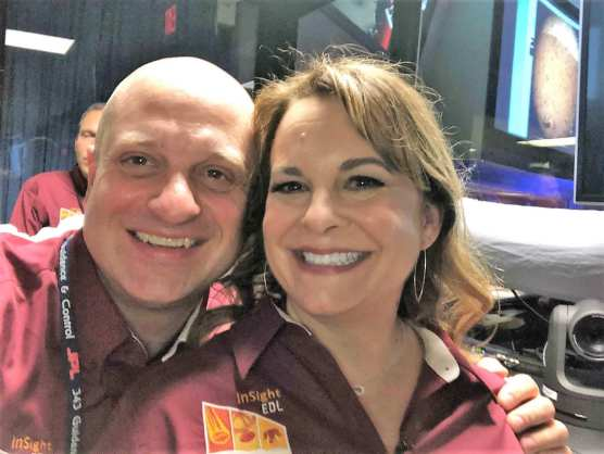 Gene Bonfiglio and Christine Szalai of NASA JPL's Entry, Descent and Lansing Team after the InSight spacecraft's successful touchdown on Mars on Nov. 26, 2018.