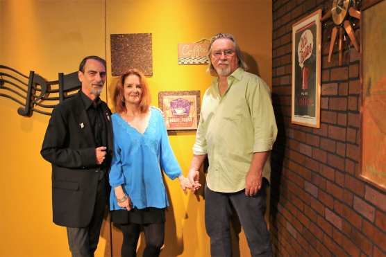 """Teresa James and Terry Wilson with Stephen K. Peeples on the set of """"House Blend,"""" Oct. 18, 2015."""