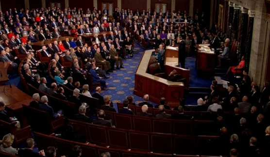 North Atlantic Treaty Organization Secretary General Jens Stoltenberg speaks to a joint meeting of Congress in Washington D.C. on April 3, 2019.