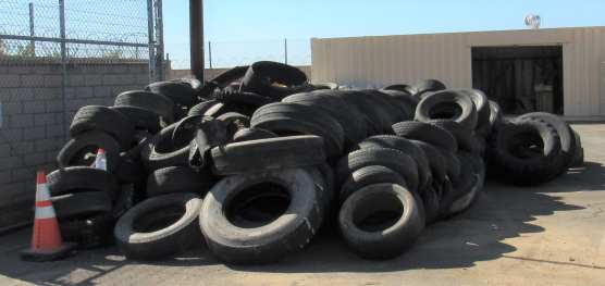 Unlawfully dumped tires recently removed from a high desert site await pickup for recycling. | Courtesy photo.