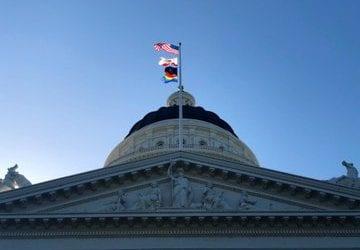 rainbow flag california capitol building
