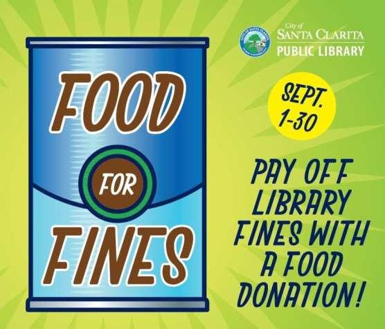 santa clarita library food for fines