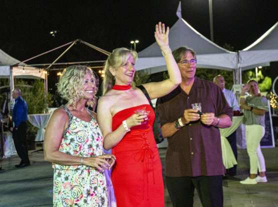 "Amy Daniels joined other guests at ""Cocktails on The Roof,"" an event benefiting the WiSH Foundation, on September 6, 2019. 