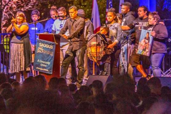 The family of Dominic Blackwell speaks at the Saugus Strong Vigil Sunday night.   Photo: Cory Rubin / The Signal.