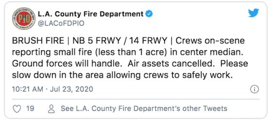 LACoFD Tweet Newhall Fire