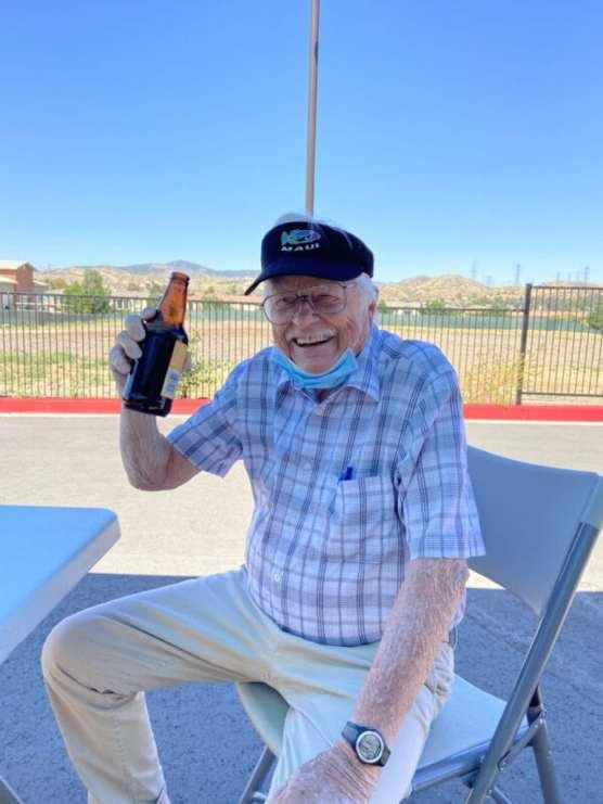 David Charlberg enjoys a beer