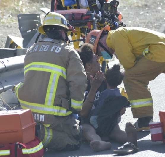 Firefighters Talk to Crash Victim