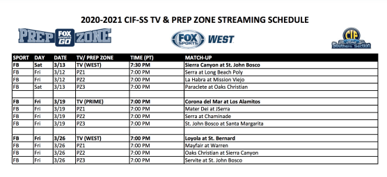 CIF-SS Streaming Schedule