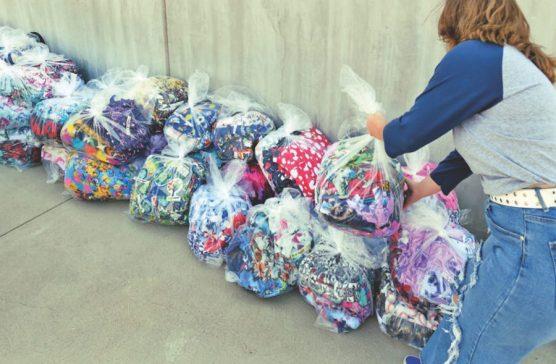 Bundles of completed blankets