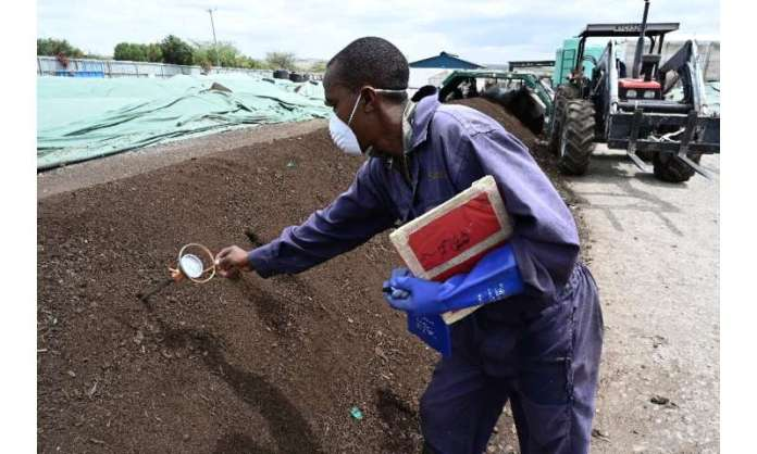 Sanergy transforma los desechos de Mukuru en un fertilizante orgánico seguro que se vende a los agricultores.