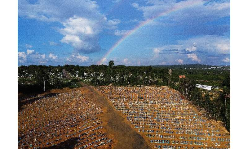 Aerial view of the burial site reserved for victims of the Covid pandemic with a rainbow in the sky at the Nossa Senhora Apareci