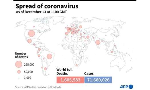 World map showing the number of Covid-19 deaths by country, as of December 13, 2020 at 1100 GMT
