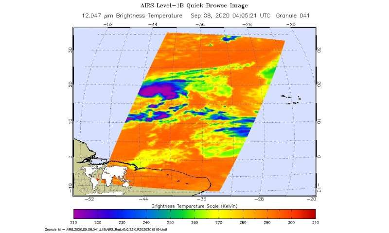 NASA infrared imagery shows wind shear affecting Tropical Storm Paulette