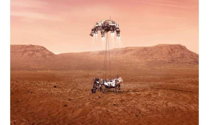 NASA rover streaks toward a landing on Mars