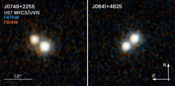 Hubble spots double quasars in merging galaxies