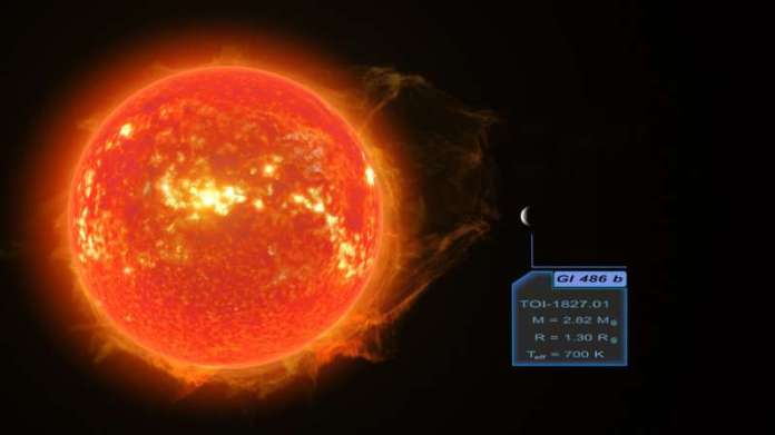A super-Earth is discovered which can be used to test planetary atmosphere models