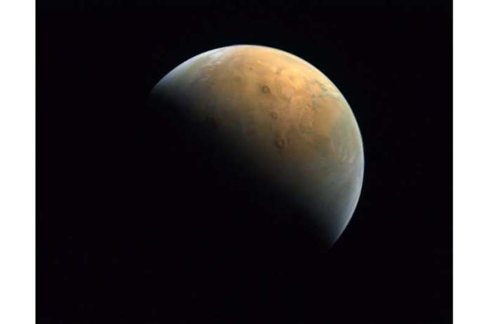A handout picture provided by the United Arab Emirates Space Agency (UAESA) taken by the Emirates eXploration Imager (EXI) on bo