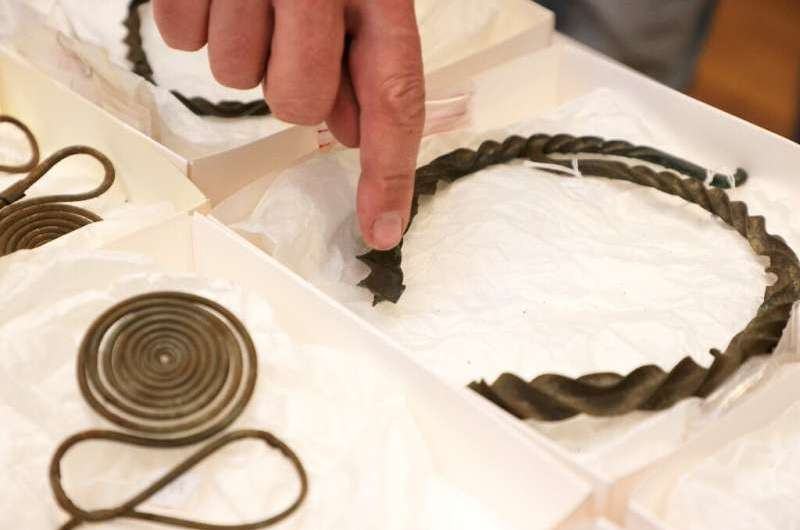 Some of the bronze Age treasures discovered near Alingsas