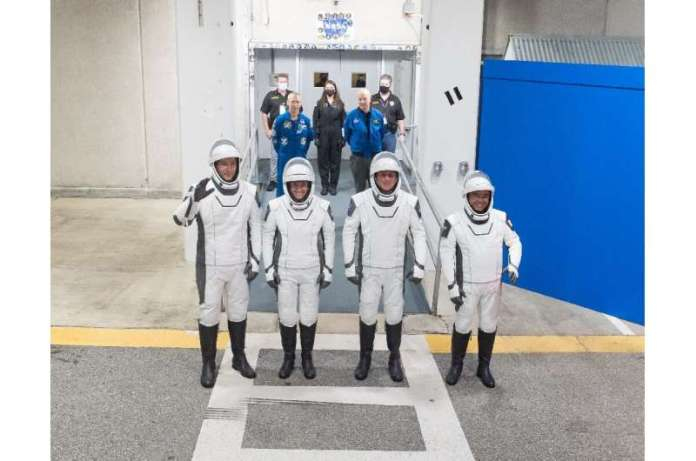 The new crew (from left to right): European Space Agency astronaut Thomas Pesquet, NASA's Megan McArthur and Shane Kimbrough, an