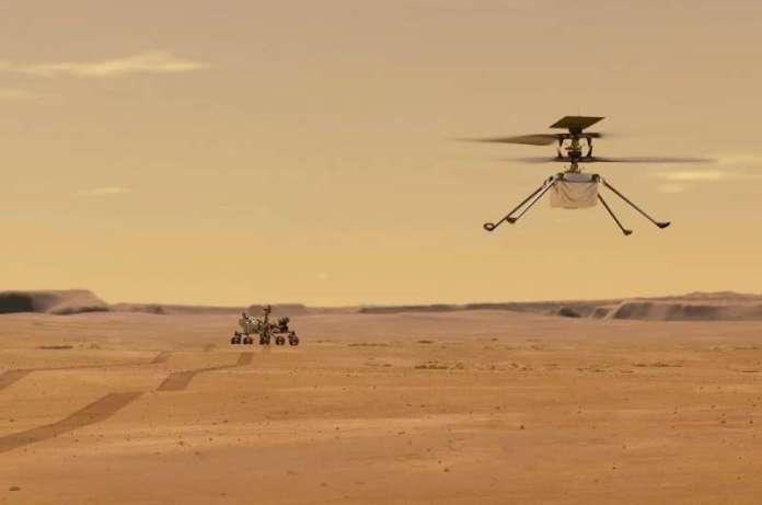 नासा के इस चित्रण में लाल ग्रह पर परीक्षण उड़ान के दौरान मंगल हेलीकॉप्टर की उत्पत्ति को दर्शाया गया है
