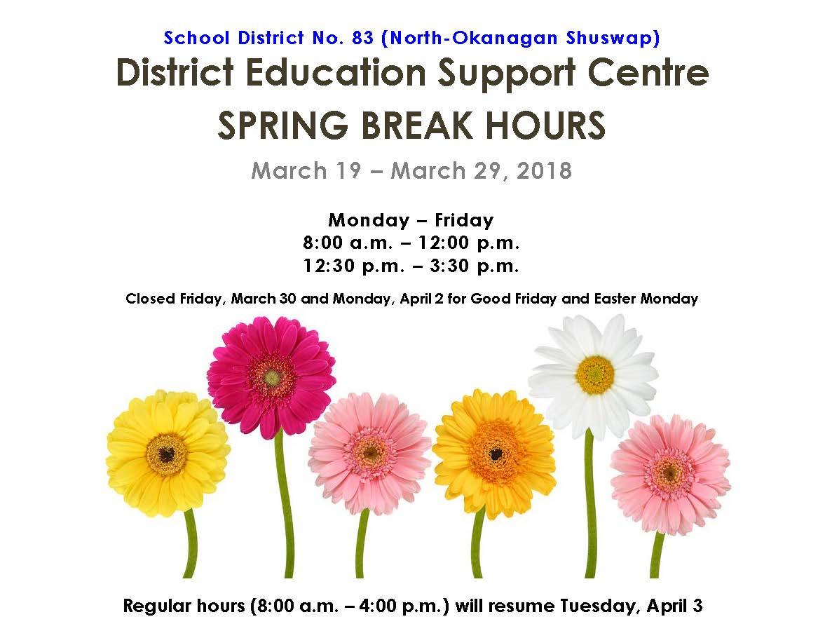 Spring Break Hours 2018