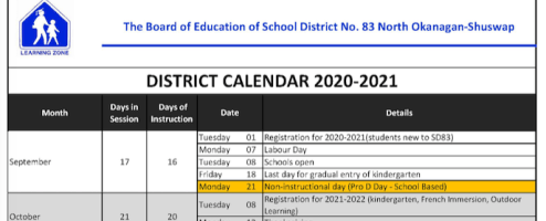 Important Dates for 2020-21