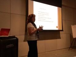 Speaker Stephanie Kirschner presenting financial segment of BusinessTRAK (4/26/16)