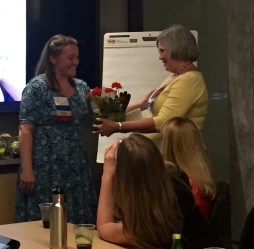 Incoming President Carrie Thompson (left) presenting gift to outgoing President Shannon Soady (5/19/16)