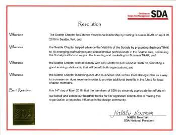 Seattle Chapter Resolution, for hosting the BusinessTRAK Workshop (EDSymposium16)