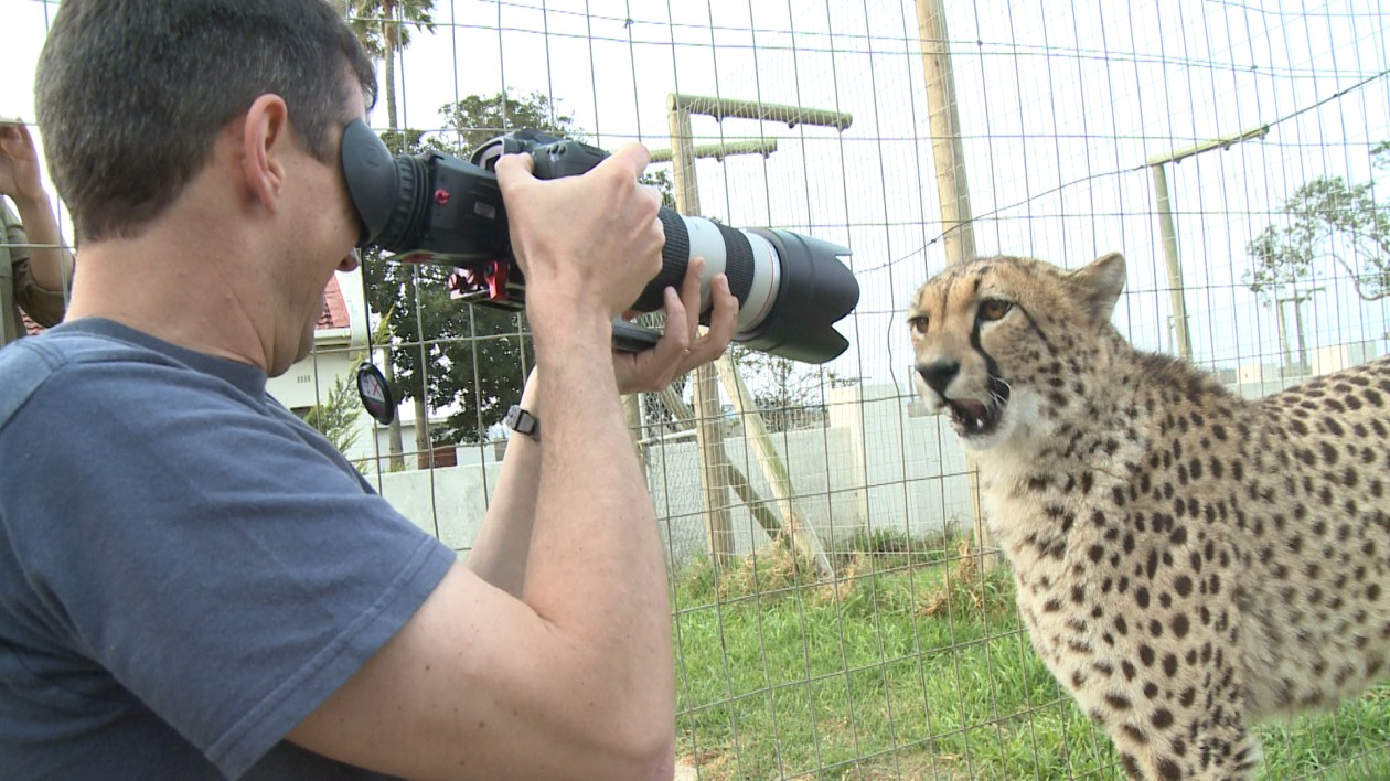 "Andre Brink working behind the scenes of ""Animal Encounters"""