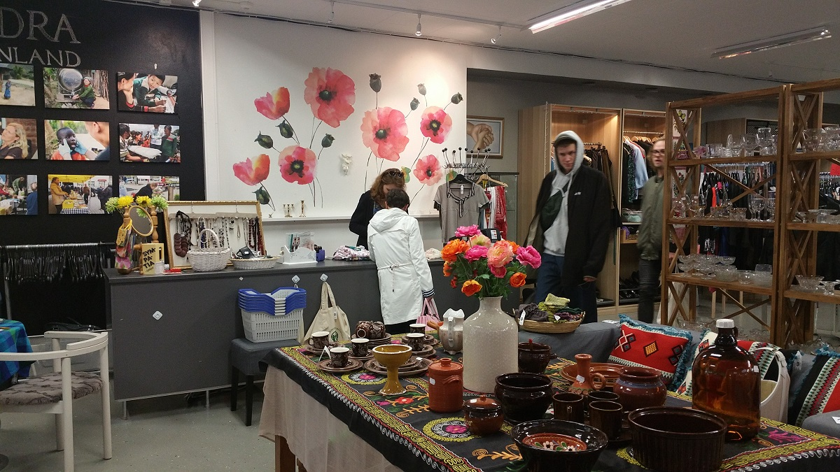 'Happy Hand' in Helsinki, a thrift store and outreach center.