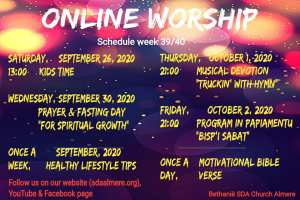 Dear brothers and sisters, these are this weeks online activities  Follow all on our YouTube .    Make sure to like and subscribe .   Church website: ...