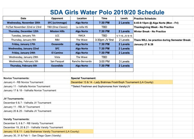 Water polo schedule