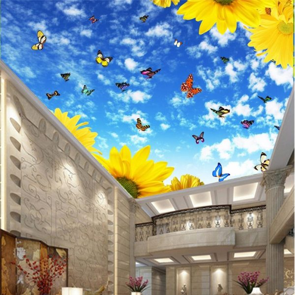 Wallpaper Decoration Photo Background Sunflower Butterfly Cloud Flower Ceiling Make Your Home Better Place