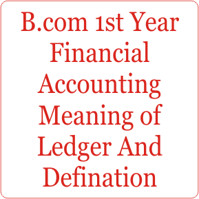 B com 1st Year Financial Accounting Meaning of Ledger And Defination