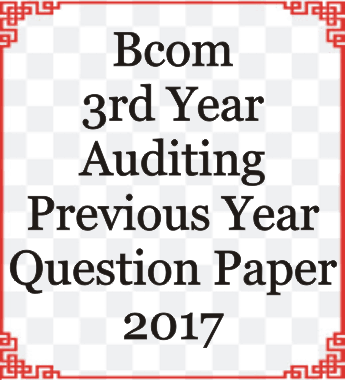 Bcom 3rd Year Auditing Previous Year Question Paper 2017
