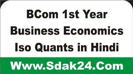 BCom 1st Year Business Economics Iso Quants in Hindi