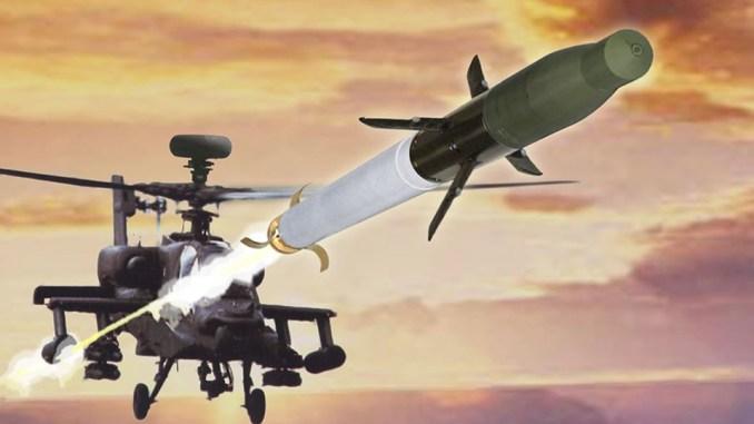 صاروخ موجه بالليزر يتم إطلاقه من مروحية