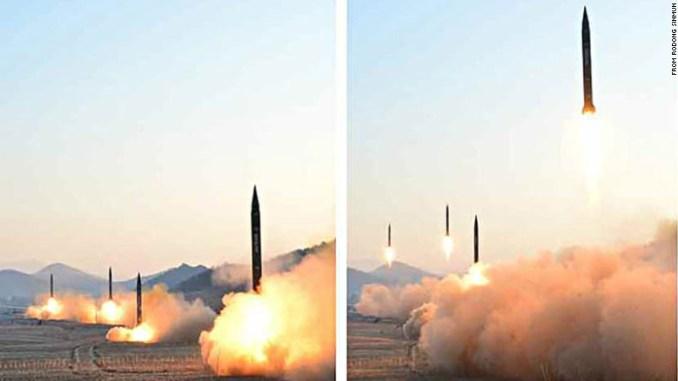 لقطة من عملية إطلاق الصواريخ الكورية الأربعة