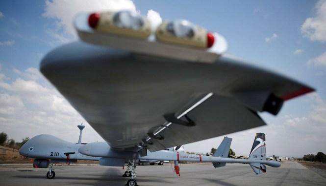 """طائرة """"هيرون تي.بي."""" من صنع إسرائيلي (رويترز)"""