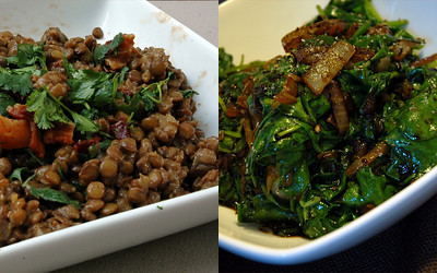 lentil salad and wilted spinach from thishappymom.com