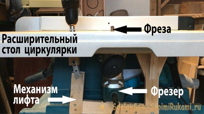 Удобный стол для фрезера с простым лифтом