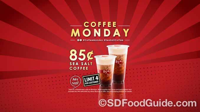 85度C每周一推出特价海岩咖啡,每杯仅售85美分。