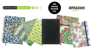 Various planners, notebooks, and journals with store logos on transparent background.