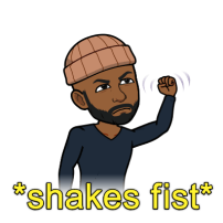 shakes fist